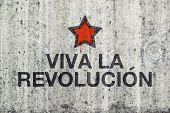 stock photo of revolutionary war  - Viva La Revolucion Graffiti on Gray Cement Street Wall Revolution Concept - JPG
