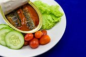 stock photo of plate fish food  - Canned Sardine fish in tomato sauce served on dish with salad for the concept of quick meal or healthy food  - JPG