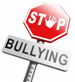 stock photo of school bullying  - stop bullying no harassment or threat at school or at work stopping an online internet bully