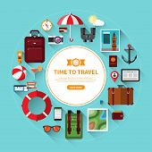 Постер, плакат: Icon set of traveling tourism vacation planning