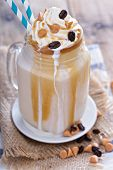 picture of mason  - Caramel frappuccino with syrup in mason jar - JPG