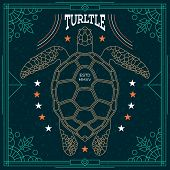 picture of vintage jewelry  - Stylish thin line turtle label - JPG