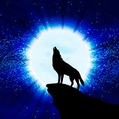 stock photo of wolf moon  - Wolf howling at the moon - JPG