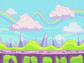 picture of fantasy  - Seamless vector cartoon landscape fantasy unending background with separated layers for game design - JPG