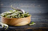 picture of soybeans  - Green fresh soybeans on wood background - JPG