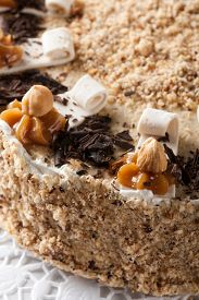 stock photo of torte  - Nut  chocolate cake - JPG