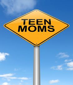picture of teen pregnancy  - Illustration depicting a sign with a teen mom concept - JPG
