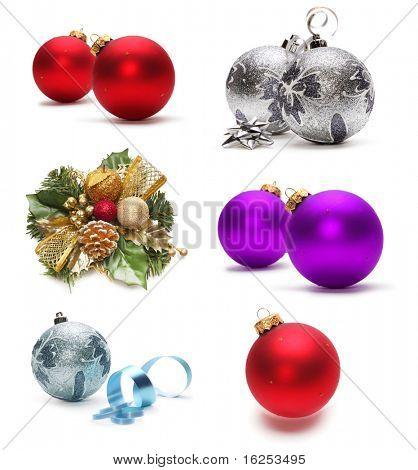 Постер, плакат: набор рождественские украшения, холст на подрамнике
