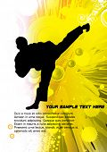 Karate poster with abstract yellow background