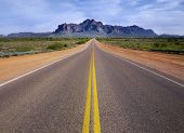picture of superstition mountains  - Desert wilderness road leading to mountain - JPG