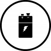 Постер, плакат: символ батареи 9V