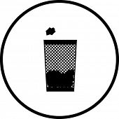 simplified illustration of a trash can to be used as a sign, icon or symbol