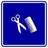 Постер, плакат: Стрижка или волос салон знак