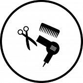 Постер, плакат: Стрижка или волос салон символ 2