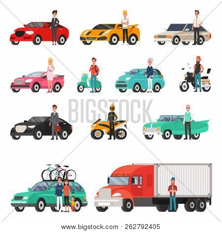 Modern Cars And Truck With