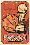 Basketball League, College Team Championship Retro Design. Vector Basketball Ball And Victory Cup, S poster