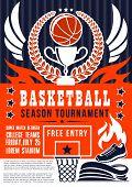 Basketball Match Season Tournament Announcement, Sport Game Event. Vector Basketball Team Or League  poster