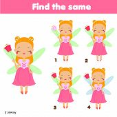 Find The Same Pictures Children Educational Game. Find Two Identical Princess Fairy poster
