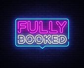 Fully Booked Neon Text Vector. Fully Booked Neon Sign, Design Template, Modern Trend Design, Night N poster