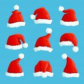Santa Hats. Cartoon Christmas Costume Caps With Fur. Santa Claus Hat Vector Set. Illustration Of Cap poster