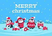 Cute Cartoon Penguins. Christmas Baby Penguin Arctic Characters In Snowy Winter Landscape. Merry Chr poster