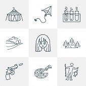 Hobby Icons Line Style Set With Snowboard, Chemistry, Anime And Other Pistol Elements. Isolated  Ill poster