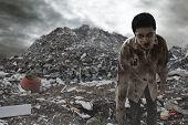 Scary Zombie Man Walking On Garbage Dump poster