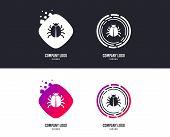 Logotype Concept. Bug Sign Icon. Virus Symbol. Software Bug Error. Disinfection. Logo Design. Colorf poster
