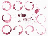 Set Of Wine Stains And Splatters. Vector Illustration poster
