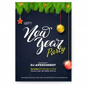 Poster For Happy New Year Holiday Party. Greetings Card With Design Of Congratulatory Text, Fir Bran poster