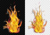 Two Translucent Burning Campfires With Smoke On Transparent Background. For Used On Light And Dark B poster