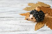 Autumn Crafts. Childrens Fall Crafts And Creativity, Hedgehog Made From Modeling Clay, Sunflower Se poster