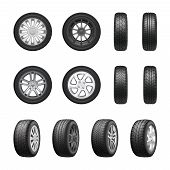 Tires Wheels Shown From Different Sides Realistic Set Isolated On White Background Vector Illustrati poster