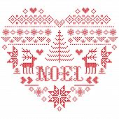 Christmas Pattern In Heart  Shape With Noel Word Vector Inspired By Nordic Culture Festive Winter In poster