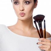 beauty portrait of attractive young caucasian woman brunette isolated on white studio shot lips face poster