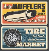 Car Service Or Parts Shop Retro Poster. Vector Vintage Tire Market Or Exhaust Pipe Muffler Replaceme poster