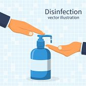 Liquid Soap With Pumping From Bottle. Disinfection Concept. Applying A Moisturizing Sanitizer. Man W poster