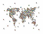 Crowd Of People In The Form Of World Map On White Background . Vector Illustration poster