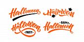 Hand Sketched Lettering happy Halloween On Textured Background poster