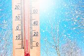 Cold Winter Weather - 10 Degrees Celsius. Thermometer In Winter Frosty Weather In The Snow Shows Low poster