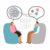 Psychotherapy Concept Illustration With Male Patient And Lady Doctor, Keep Calm Vector Illustration poster