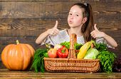 Child Show Thumbs Up Celebrate Harvest Holiday Vegetables Basket. Kid Farmer With Harvest Wooden Bac poster