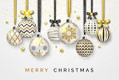 Christmas Background With Shining Stars, Bows, Confetti And Colorful Balls. New Year And Christmas C poster