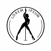 Black And White Logo For Dance Studio, Pole Dance, Stripper Club. Silhouette Pole Dance On A White B poster