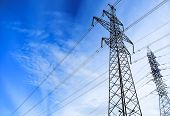 High-voltage Wires. High Voltage Post. High-voltage Tower Sky Background. poster