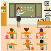 English Lesson In School. Woman Teacher, Pupils And Class Interior. Schoolchildren Learn Alphabet Wr poster