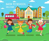Study At School. Vector Flat Illustration. Happy Children Are Jump In Outdoors Of School Building. B poster