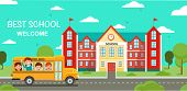 Schoolbus And School Building.study At School. Back To School In September. Schooling And School Ext poster