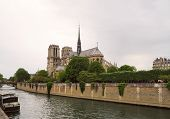 Notre Dame De Paris Cathedral, Beautiful Cathedral In Paris. View From The River Seine, Paris, Franc poster