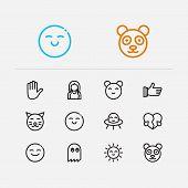 Emoji Icons. Set Of Cute Cat, Anime Kawaii And Love Vector Sign Symbols. Vector Illustration Of Man  poster